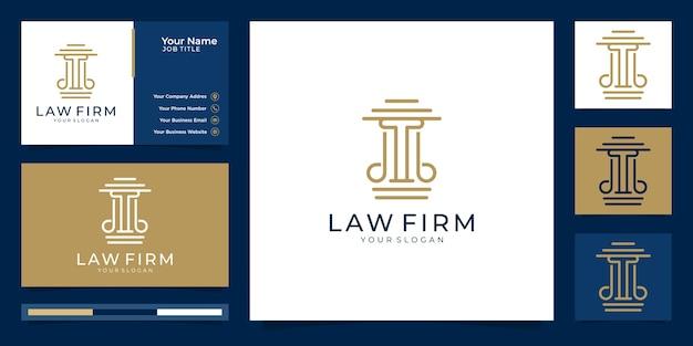 Визитная карточка и логотип юридической фирмы, адвокатского бюро. символ закона высшей справедливости.