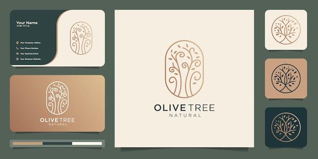 名刺とモダンなゴールドオリーブの木のベクトル、オリーブオイルのロゴのデザインテンプレート。