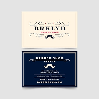 Business card for barber shop in brooklyn
