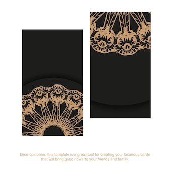 Business card in black color with brown abstract ornament