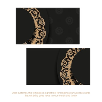 Business card in black with brown indian ornament