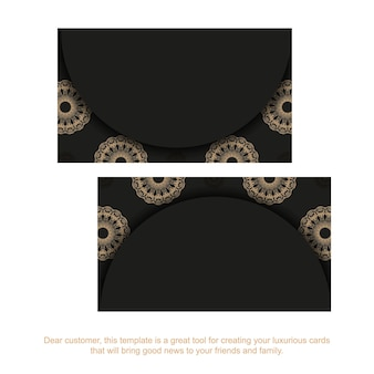 Business card in black with brown indian pattern