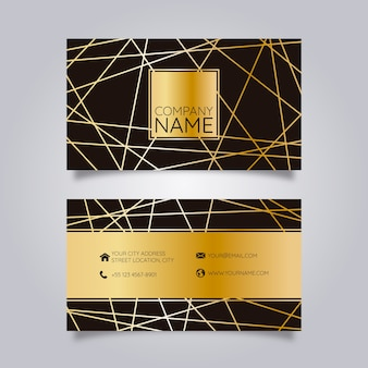 Business card black with golden geometric lines