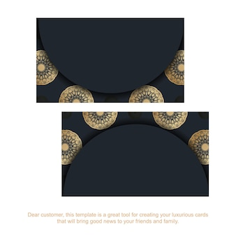 Business card in black with indian gold ornaments for your business.