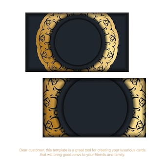 Business card in black with indian gold ornaments for your contacts.