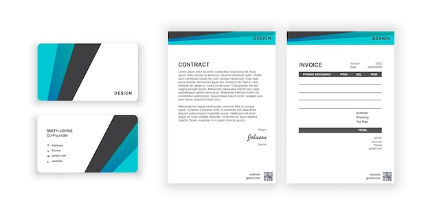 Business card and blank simple colorful design document design template for office company