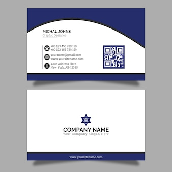 Business card in blue