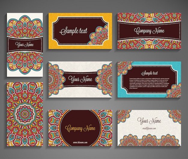 Business card collection with mandala concept