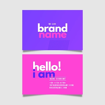 Business card colorful minimal collection