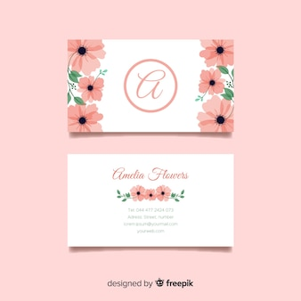 Business card concept with flowers