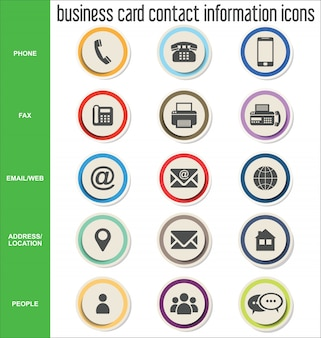 Business card contact information icons