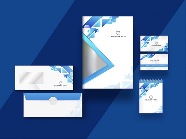 Business card, cover and template design with abstract geometric elements on blue.