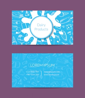 Business card for dairy shop or organic farm with dairy elements, milk splashes and place for text