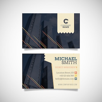 Business card dark buildings template