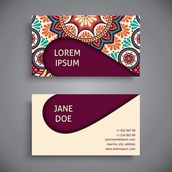 Business card decorated with a mandala