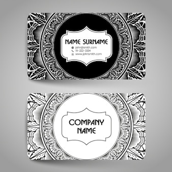 Business card decorated with ornaments