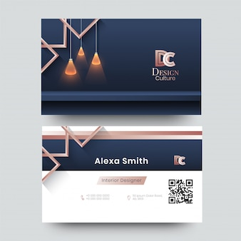 Business card for decorator, designer, architect with creative design