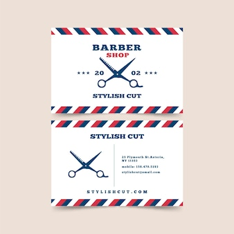 Business card design for barber shop with scissors