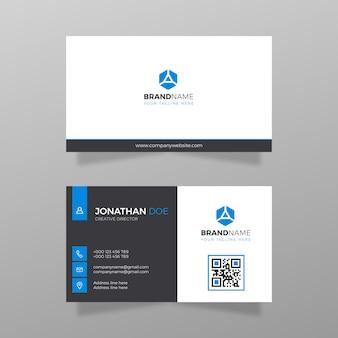 名刺デザイン会社とビジネスベクトル白と青の色モダン