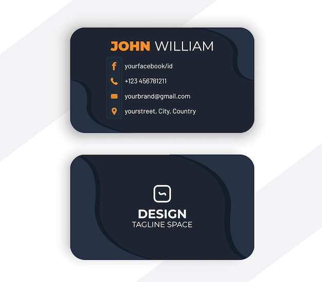 Business card design in dark style