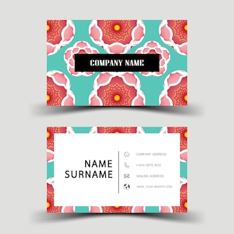 Business card design on the gray background. with inspiration from flower.