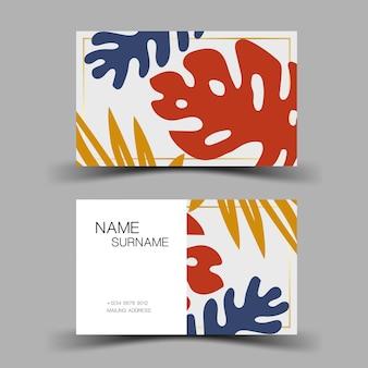 名刺デザイン葉からのインスピレーション編集可能なベクターイラストeps10