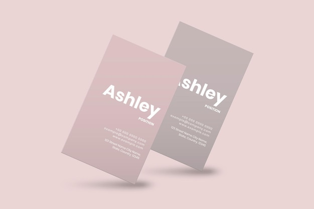 Business card design in pink tone with front and rear view