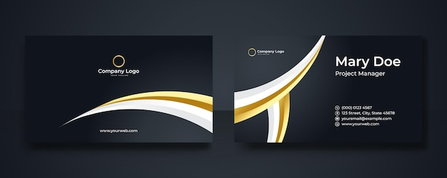 Business card design set template for company corporate style. black gold color. vector illustration