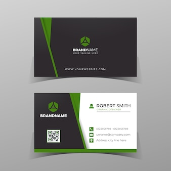 名刺デザインテンプレート灰色の背景に黒と緑の両面ベクトル図