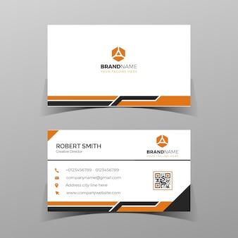 名刺デザインテンプレート灰色の背景に黒とオレンジの両面ベクトル図
