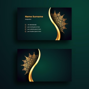 Business card design template with luxury ornamental mandala