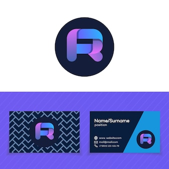 Business card design template with r letter logo