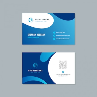 Business card design trendy blue colors template