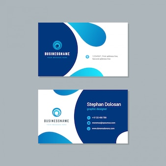 Business card design trendy blue colors template