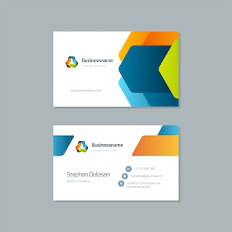 Business card design trendy colorful template vector editable template 3.5x2 with bleed