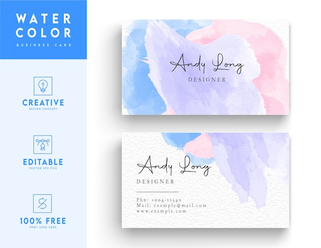Business card design - watercolor business card template design