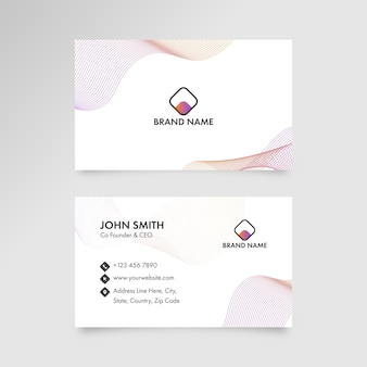 Business card design with abstract waves in front and back side.