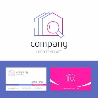 Progettazione del biglietto da visita con il vettore di logo della società delle costruzioni