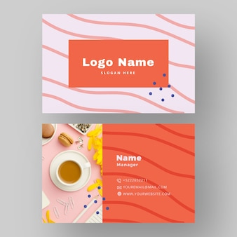 Business card design with coffee photo