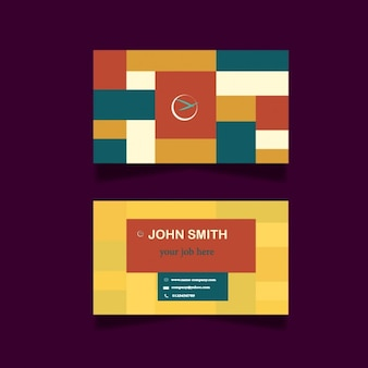 Business card design with coloured squares