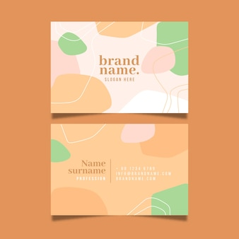 Business card design with colours in pastel