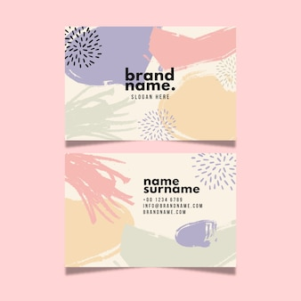 Business card design with colours in watercolour pastel