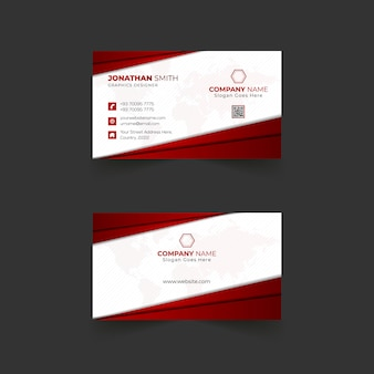 Business card design with dark red colors