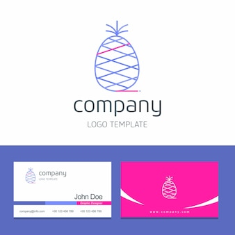 Business card design with fruits company logo vector