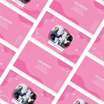 Business card design with people photo