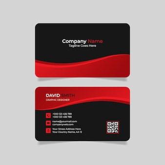 Business card design with red and black