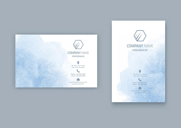 Business card design with a watercolour design