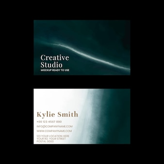 Business card editable template  ocean with black background