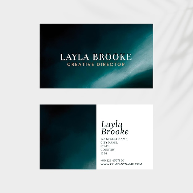Business card editable template  ocean with leaves shadow background
