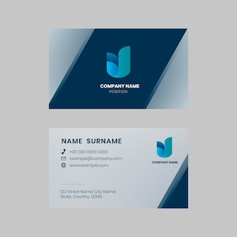 Business card editable template vector in blue tone